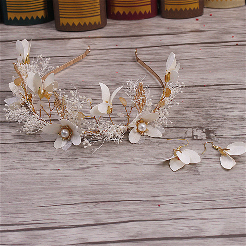 CC&BYX Beautiful Flower Hairbands Crown 2pcs Set Flower Earrings For Women Wedding Tiara Bridal Hair Accessories Jewelry 8648