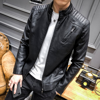 Men's leather new age season locomotive leather young men contracted leisure coat