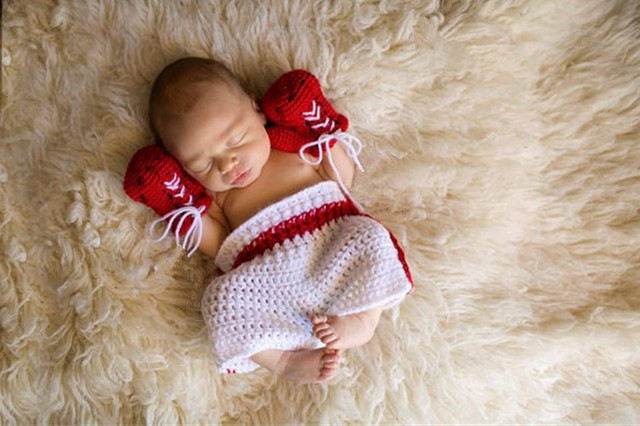 Newborn baby girls boys crochet knit costume cute style of sports boxing gloves shorts fashion
