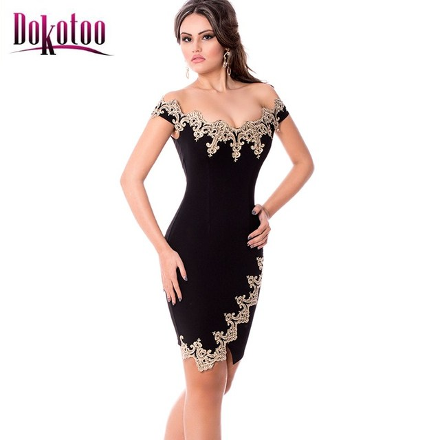 07417d713aff Dokotoo Gold Lace Applique Black Off Shoulder Mini Dress LC22715 vestidos  femininos 2017 summer ladies sexy party dress on sale
