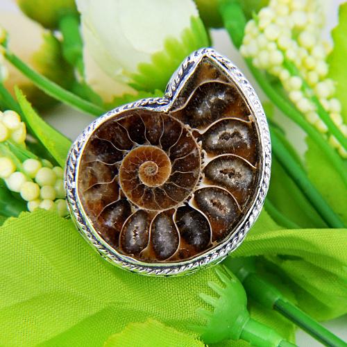 Latest Style Fashion Elegant Party Unisex Rings Genuine Ammonite Antique Silver Ring