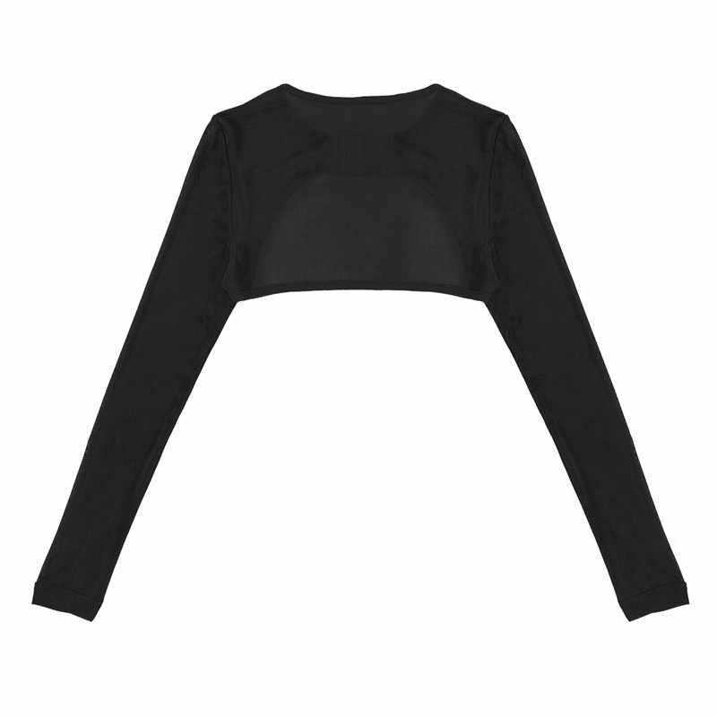 Womens Dance Crop Top Dance Wrap Top Ballet Shrug Cardigan Soft Mesh See Through Sheer Long Sleeves Open Front with Bag Buckle