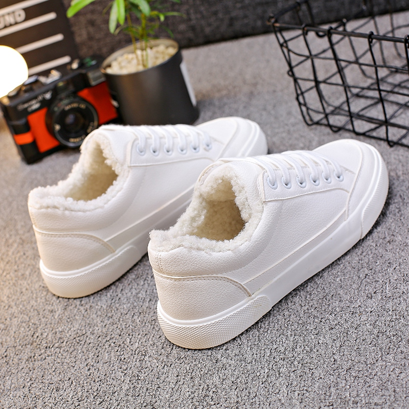Women Winter Shoes Cashmere Inside Solid Color White Black Pink Shoes All Match Chic Sneakers Zapatillas Deportivas Mujer 35-40