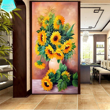 PSHINY 5D DIY Diamond embroidery sale Sunflower flowers complete Square rhinestones pictures Painting new arrivals