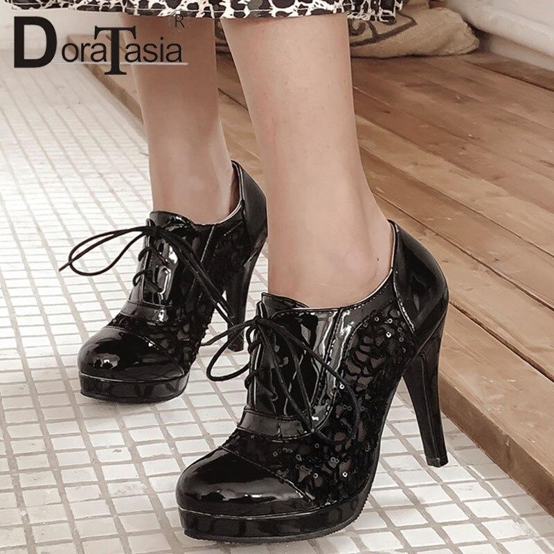 Doratasia Women Shoes Platform Lace High-Heel Sexy Big-Size 34-43 Spring Pu Fashion Party