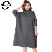 Oladivi Spring Plus Size Women Dress Casual Solid Turtleneck Loose Style Long Top Tunic Female Fashion