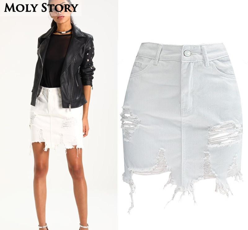 search for genuine bright n colour wide selection of colors US $17.37 8% OFF|Ripped White Jean Skirt Women Tassel Frayed High Waist  Asymmetrical Denim Skirt Destroyed Plus Size Jupe Femme-in Skirts from  Women's ...