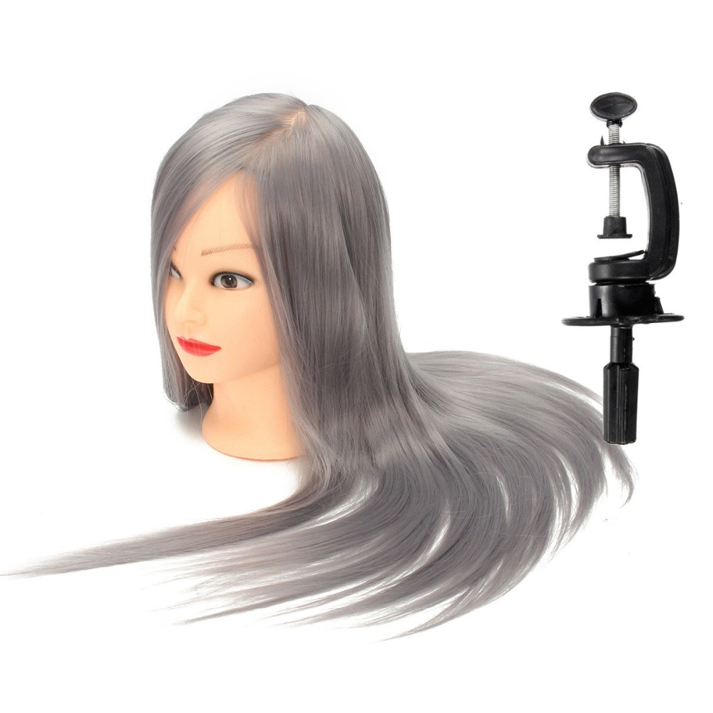 Gray Hair Hairdress Practice Braiding Female Training Head Dummy Mannequin Doll 1Pc Hairstyles Gey hair 2018 50cm long gold hair training head salon professional hairdressing doll mannequin dummy for hairstyles practice manikin head
