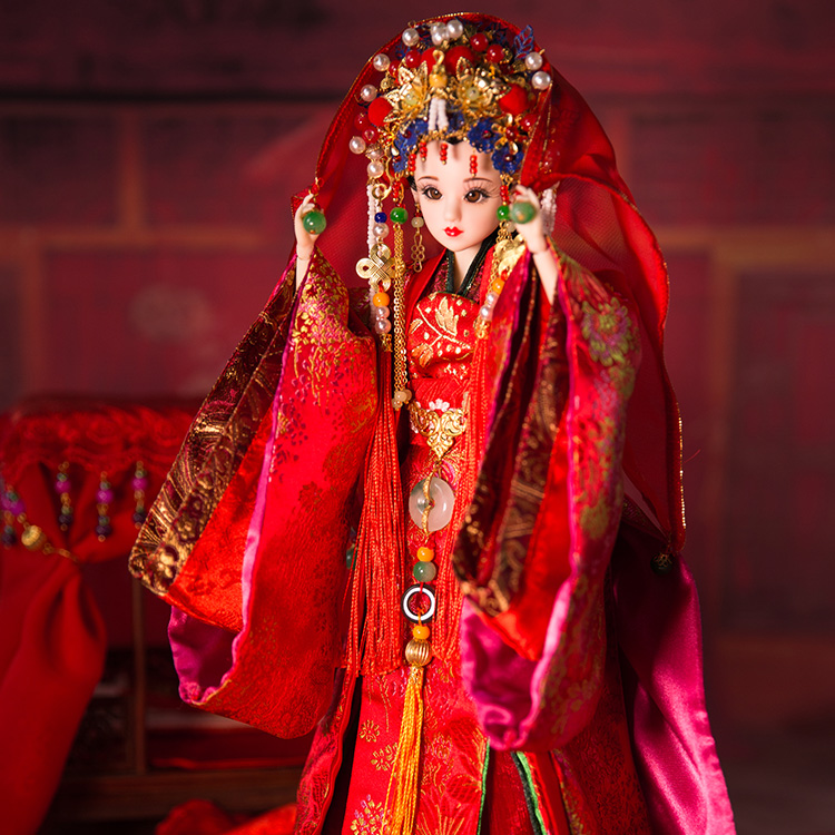Free Shipping 35cm Handmade Chinese Girl Dolls Boutique Vintage Dolls Ancient Bride Dolls For Collection Girl Toys Gift 346 00009 red gold bride wedding hair tiaras ancient chinese empress hair piece