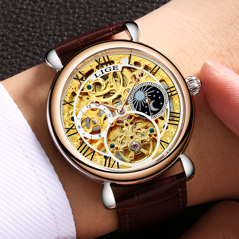 Relogio Masculino LIGE Tourbillon Mens Watches Top Brand Luxury Gold Men Watch Automatic Mechanical Leather Wristwatches mens watches top brand luxury lige 2017 men watch sport tourbillon automatic mechanical leather wristwatch relogio masculino