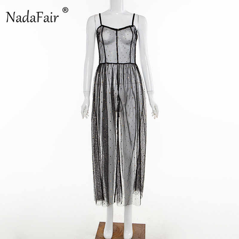 Nadafair Spaghetti Strap Mesh Midi Kleid 2019 Sexy Club Party Sommer Kleid Hohe Taille Ärmel Transparent Split A-Line Kleid