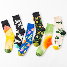 Men Women Fashionable Funny Cotton Autumn Winter Long Crew Socks European Lovers Doodling Flower Happy Character
