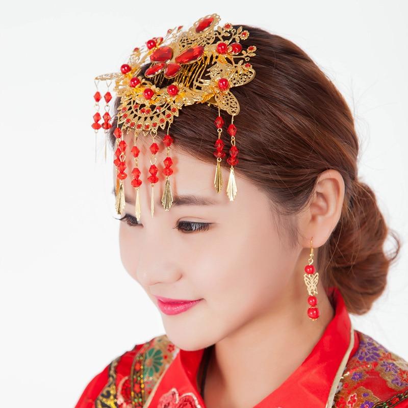 red rhinestone hair accessories bride headdress Chinese ...