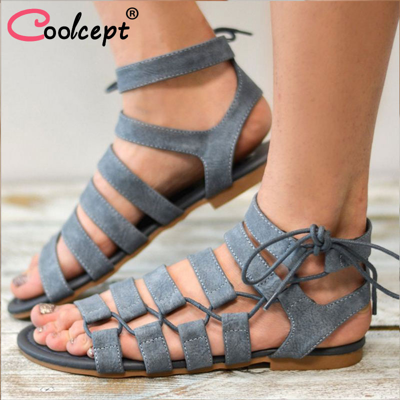 eecaf56bdbb Coolcept Size 34-43 Gladiator Sandals 2018 Summer Women Sandals New Style  Casual Summer Shoes Woman Beach Flat Sandals Shoes