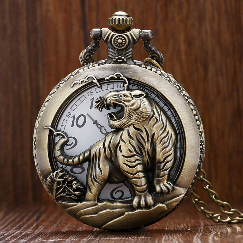 Vintage Bronze Hollow 3D Tiger Design Quartz Pocket Watch With Necklace Chain Gift For Men Women Gift