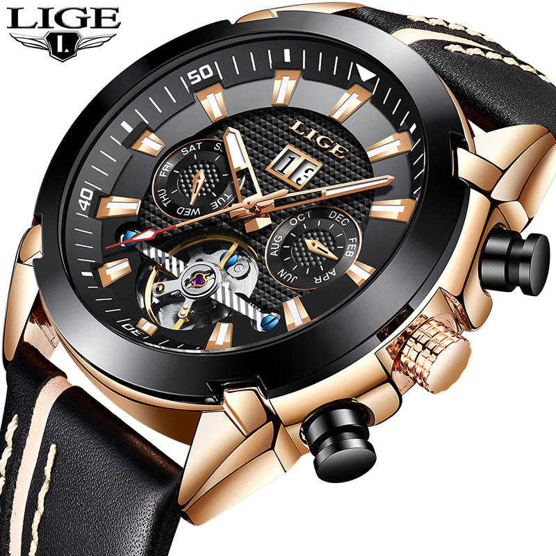 LIGE mens watches top luxury brand sport watch mechanical watch men business leather waterproof quartz clock Relogio MasculinoLIGE mens watches top luxury brand sport watch mechanical watch men business leather waterproof quartz clock Relogio Masculino