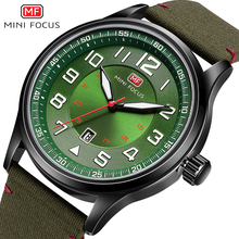 MINIFOCUS 2018 New Nylon Strap Quartz Wrist Watch Fashion Casual Mens Watches Army Military Sports Green Black Clock For Male