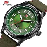 MINIFOCUS 2018 New Nylon Strap Quartz Wrist Watch Fashion Casual Mens Watches Army Military Sports Green Black Clock For Male
