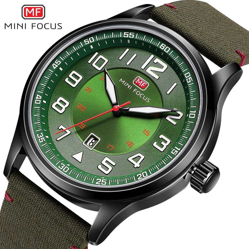 1585a67add6 MINIFOCUS 2018 Novo Nylon Strap Quartz Relógio de Pulso Moda Casual Mens  Relógios Militar Do Exército Sports Relógio Verde Preto Para O Sexo  Masculino