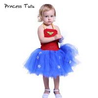 Superhero Girl Wonder Woman Tutu Dress Baby Kids Knee Length Wonder Girl Cosplay Tulle Tutu Dresses