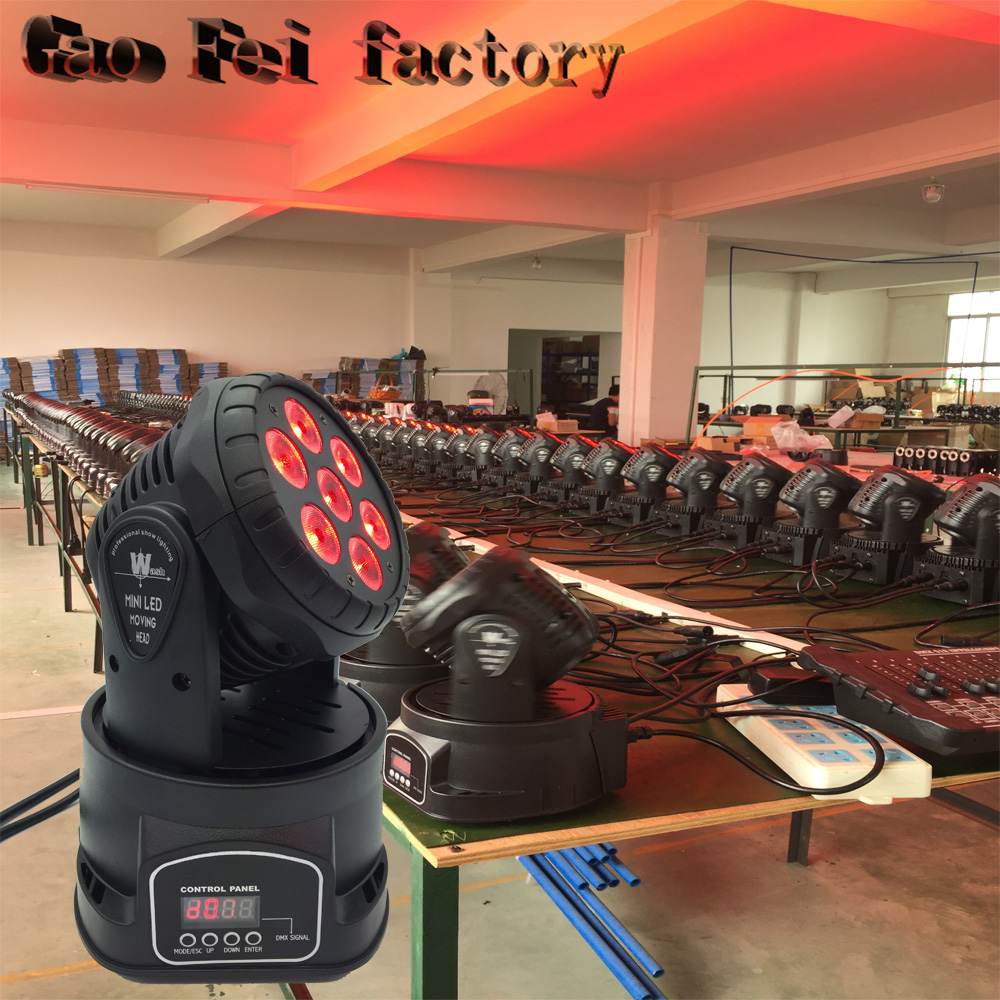 цены Led Moving Head Wash 7*12w Mini Music Sound Light Stage Christmas Party lumiere Laser Show Disco Dj Dmx Lamp Rgbw Light