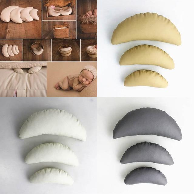 Accesorios de foto de bebé recién nacido posando almohada de media luna fotografía Shoot Positioner Set blanco caqui gris