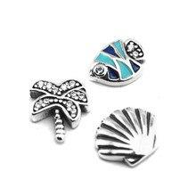 Ensemble de 3 Petites breloques en argent Sterling 925 authentique, parfait pour la fabrication de bijoux, un paradis Tropical, un médaillon flottant, un collier