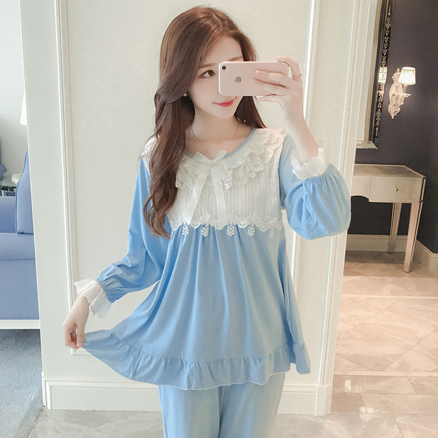 Ladies' pajamas, autumn princess, pure cotton suits, long sleeves, fresh and sweet, lovely spring and lace lace home clothes.