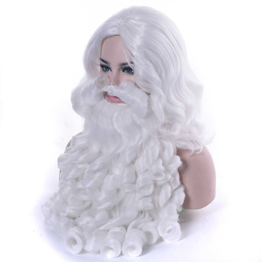 Noel Kostümleri noel Baba Peruk ve Sakal Sentetik Saç Kısa SantaClaus Noel Hediyesi Cosplay Peruk