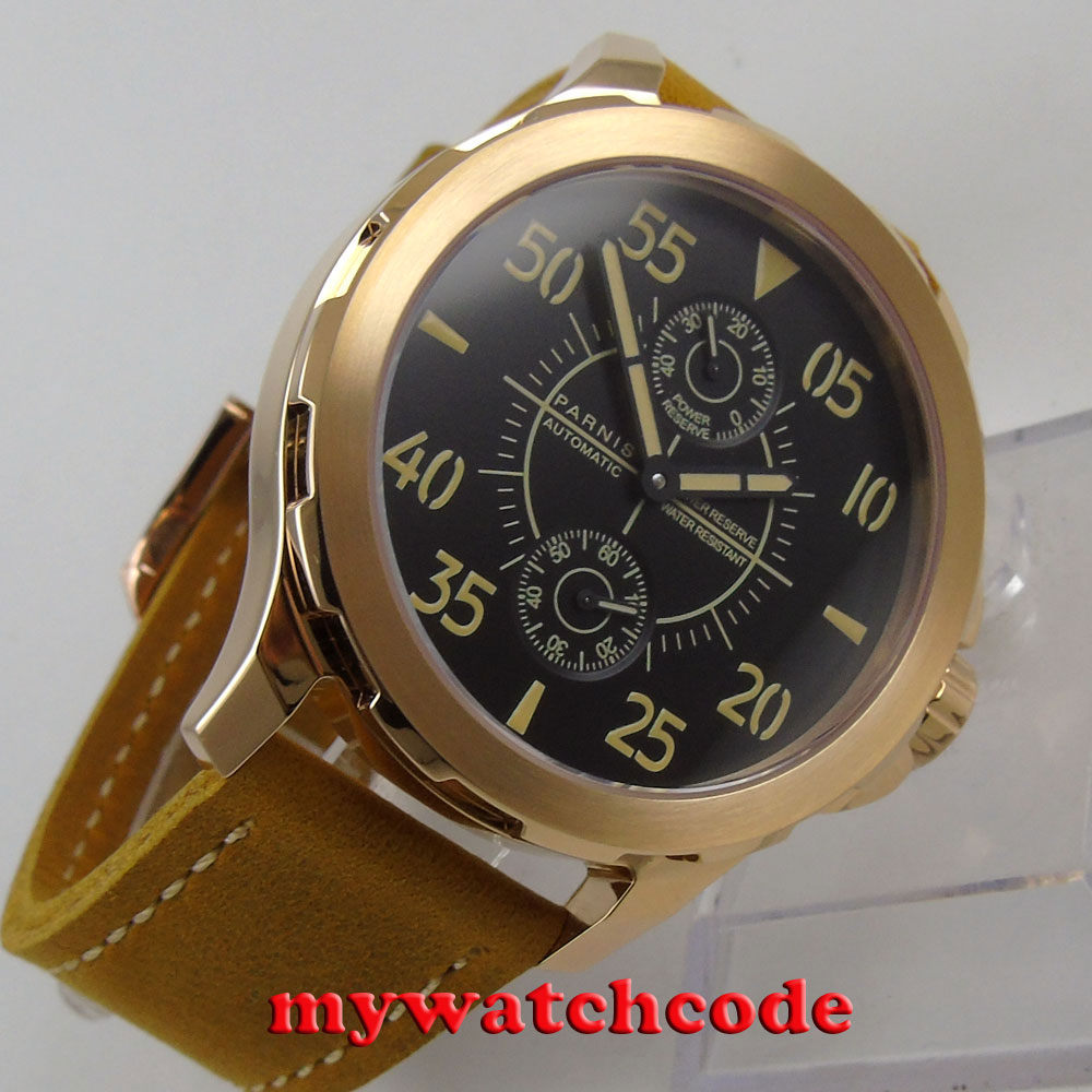 44mm Parnis black dial rose gold case Sapphire glass ST2542 Automatic Mens Watch все цены