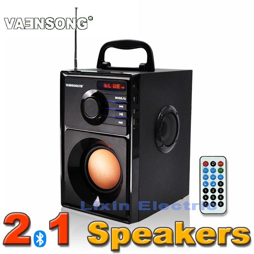 Prix pour Vaenson a10 stéréo 2.1 subwoofer bluetooth haut-parleur hifi haut-parleur portable usb et la carte de tf jouer 10 w amplificateur haut-parleur fm radio