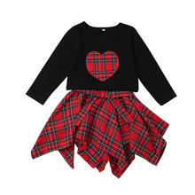2018 Autumn New Baby Girl Clothes Sets Long Sleeve T-shirt With Irregular Plaid Skirt 2pcs Suit For Girls Skirt Kids Tracksuit цена 2017