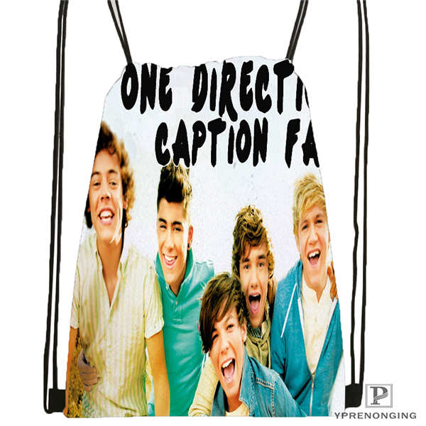 Custom One Direction@03-  Drawstring Backpack Bag Cute Daypack Kids Satchel (Black Back) 31x40cm#180611-01-39