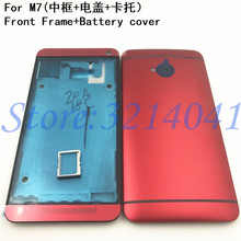 Original LCD Front Frame Battery Door Back Cover For HTC One M7 801e 801n 801s Power Volume Buttons+Camera Lens For M7 Housing
