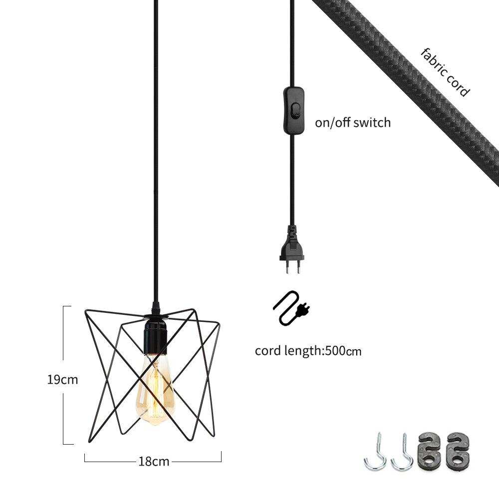 Length 500cm modern cage pendant light EU plug iron retro loft pyramid pendant lamp metal Hanging Lamp E27 Indoor ZDD0011