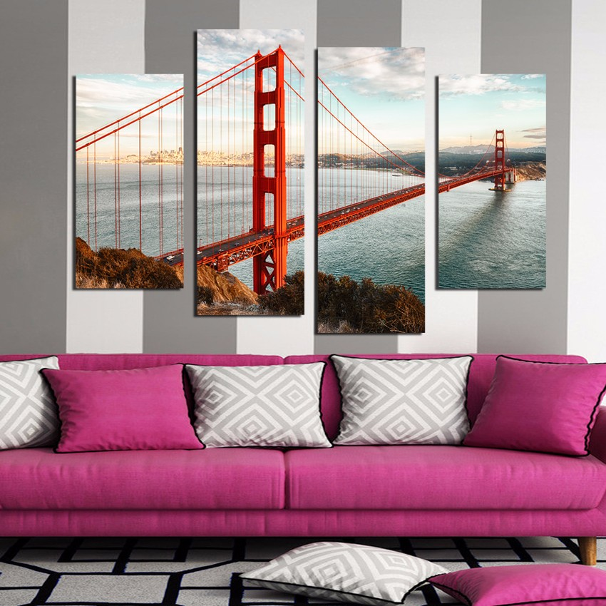 4 Panel Modern Printed London Cityscape Red Bridge Canvas Painting Cuadros Picture Wall Art For Bed Room framed