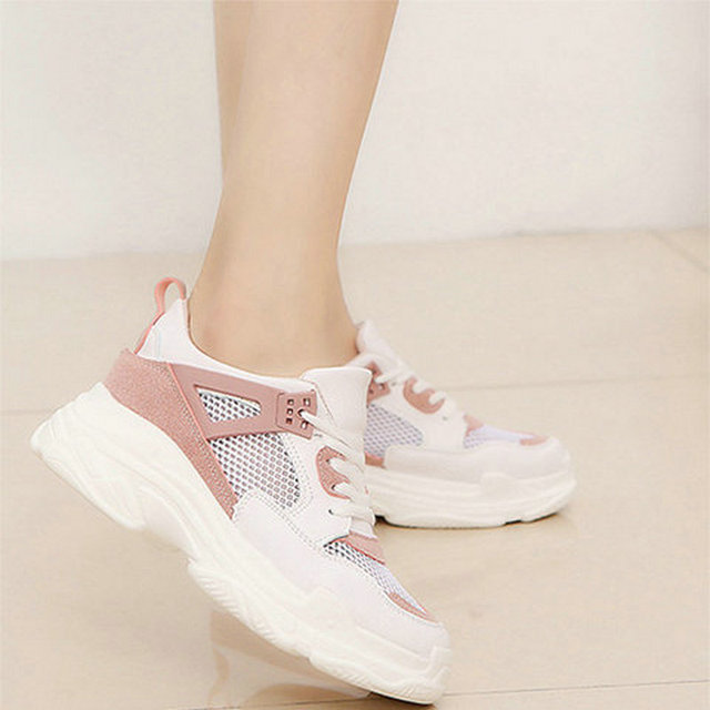 6f419995 Pink Casual Shoes Women Sneakers Summer Outdoor Trainers Women Tenis Shoes  Breathable Mesh Sneakers Women Shoes