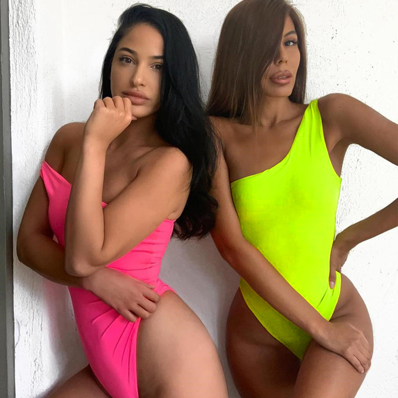 ZHYMIHRET Sexy One Shoulder Neon Color Bodysuit Sexy Skinny Combinaison Femme Modis Rompers Womens Jumpsuit 2019 Summer