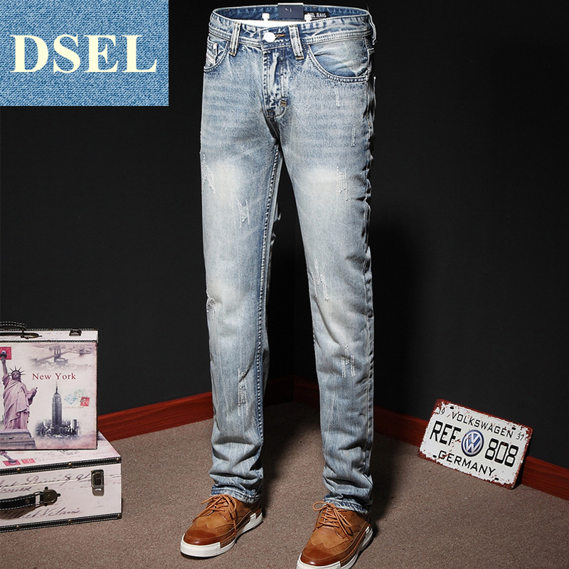Fashion Light Blue Jeans Ripped Trousers Slim Straight Fit Denim Jeans Men Original Brand Jeans Dsel New Men`s Jeans Pants 6981 patch jeans ripped trousers male slim straight denim blue jeans men high quality famous brand men s jeans dsel plus size 5704