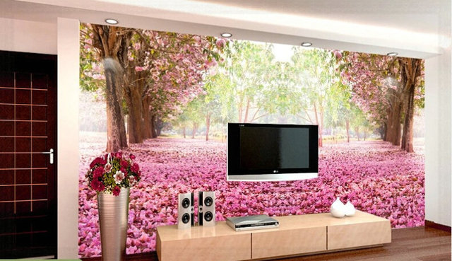 Romantic cherry blossoms tree TV background wallpaper the living ...