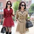 2016 Autumn Winter Korean Slim Elegant Khaki Drawstring Waist Long Trench Coat Women Casual Brand Windbreaker Female Plus Size