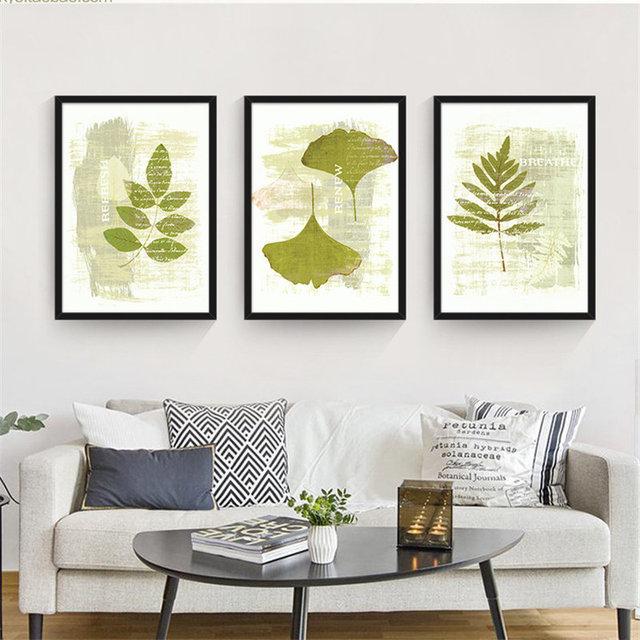 moderne tropical banana feuilles plante verte toile peinture art print affiche pour salon. Black Bedroom Furniture Sets. Home Design Ideas