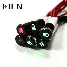 FILN 10 мм панель Черная оболочка с символом автомобиля аппликатор 12 В светодиодный индикатор с кабелем 20 см