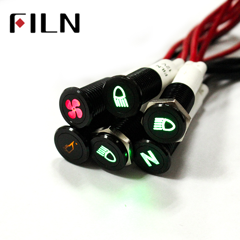 FILN 10mm Panel Black Shell With Symbol Car Applicance 12v Led Indicator Light With 20cm Cable