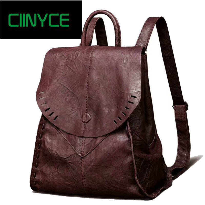 Vintage women Soft genuine leather Travel laptop backpack ladys cow Skin hand coloring c ...