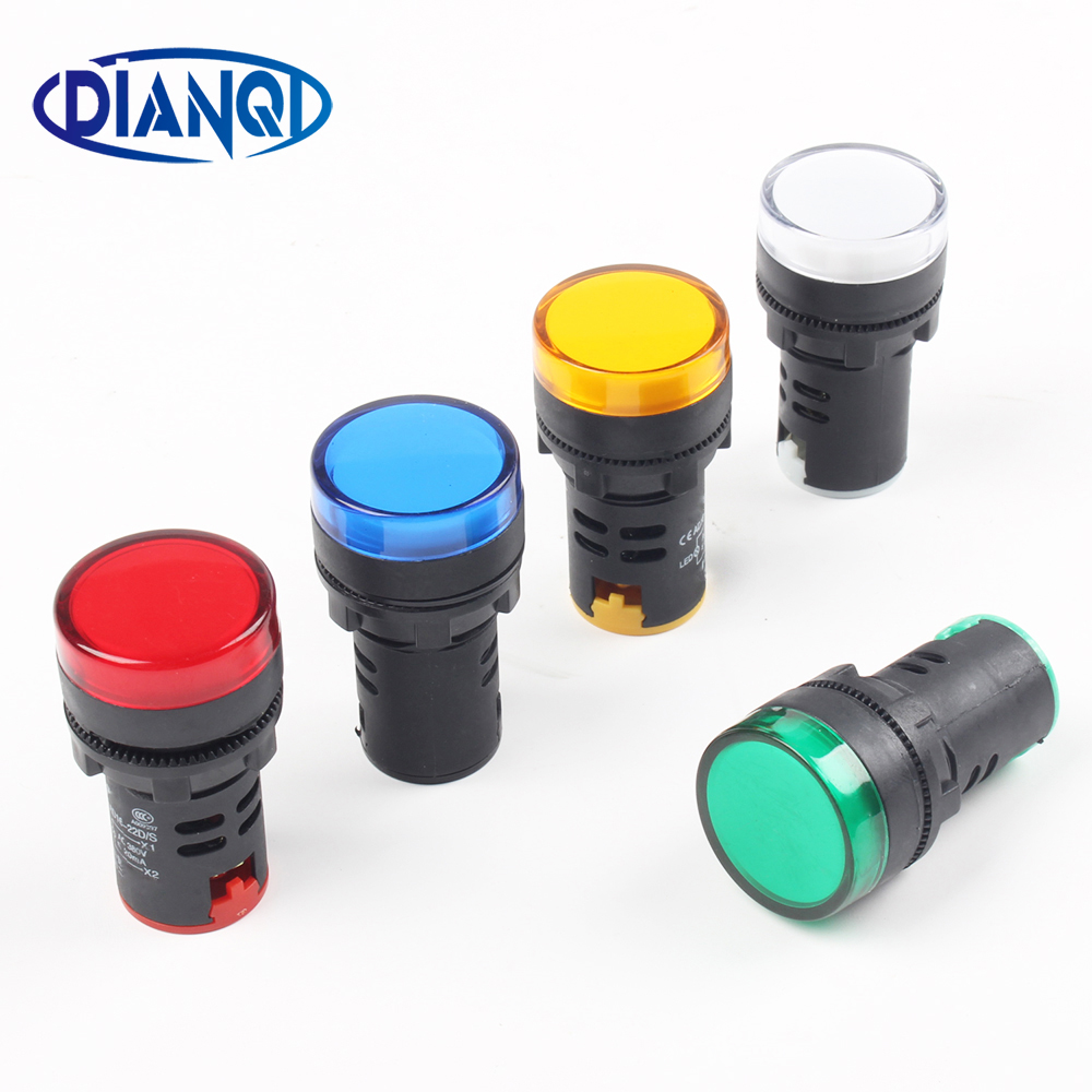 Ad16 22 AD16-22 5 Color AC220V Power Indicator Signal Light 22mm Mounting Size Led Indicator Lamp