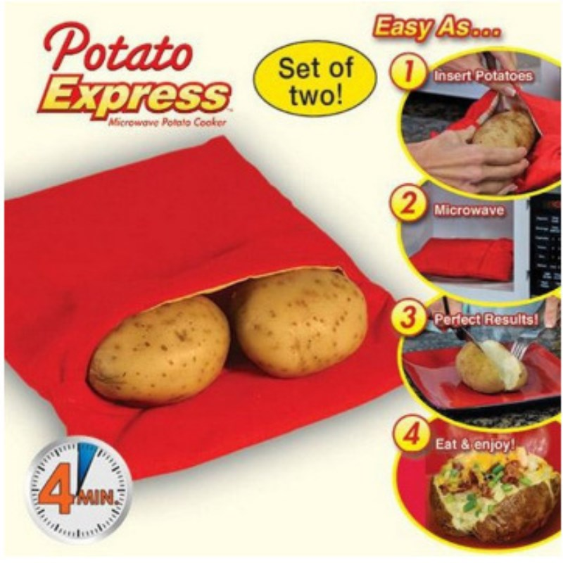 1pc Red Washable Potato Cooker Bag Microwave Baking Potatoes Cooking Bag Quick Fast (cooks 4 potatoes at once) Ma Kitchen Gadget