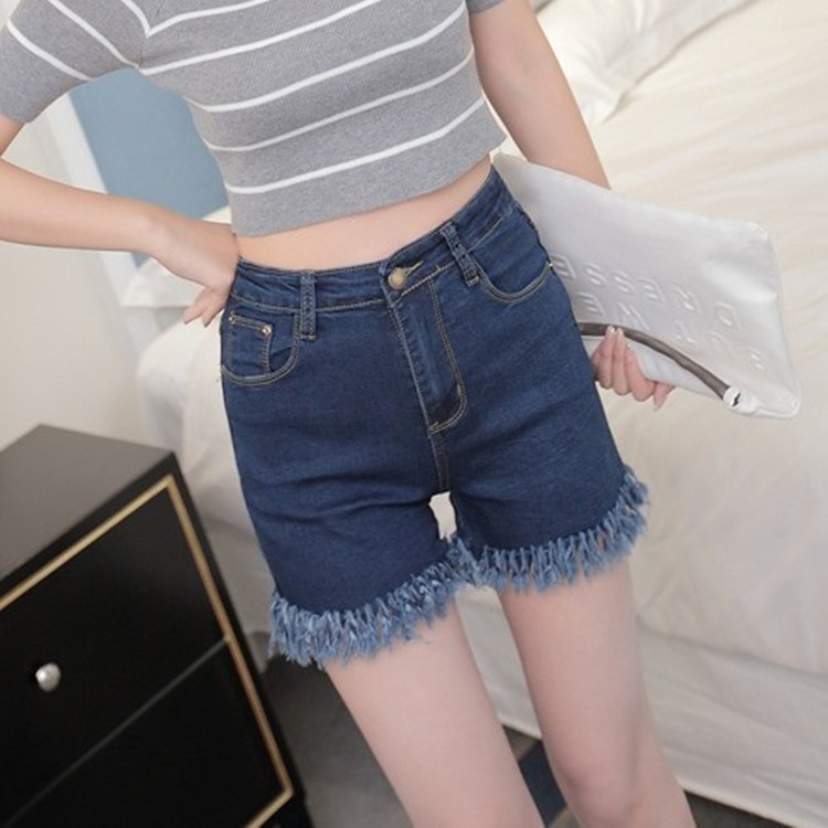 Embroidered denim shorts female personality hole shorts embroidery wear white denim shorts worn