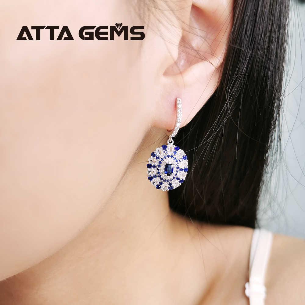 Niebieski szafir klasyczny srebrny kolczyk dla kobiet biżuteria osobista utworzono szafirowe urocze upominki na imprezę urodzinową