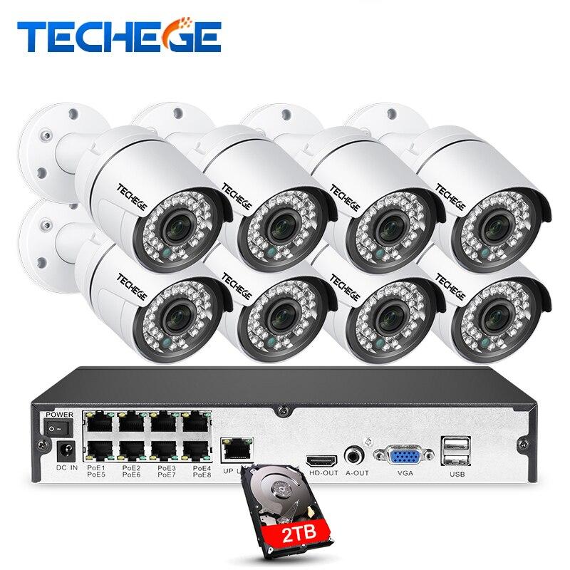 Techege 8CH 1080 p POE sistema 2MP 3000TVL IP Camera Copertura 8CH 1080 p 48 v POE NVR Sistema CCTV video di Visione notturna di Sorveglianza Kit